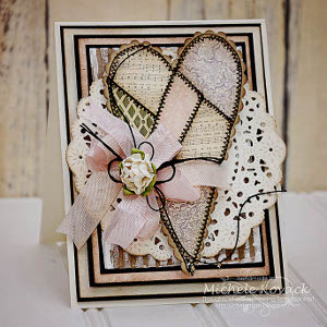 Prettiest Pale Pink Patchwork Heart Card