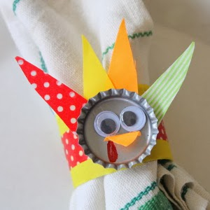 Bottle Cap Turkeys DIY Napkin Rings