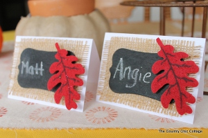 Burlap and Chalkboard Thanksgiving Place Cards