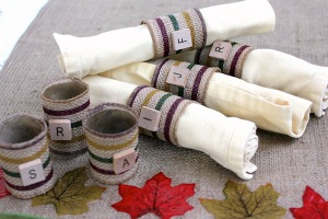 Burlap and Scrabble Tile DIY Napkin Rings