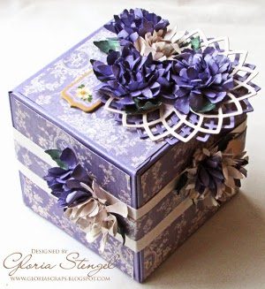 Lavender Flowers and Flourishes Artist Trading Block