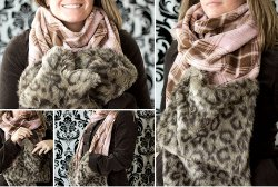 Fleece Scarf with Fur Pocket