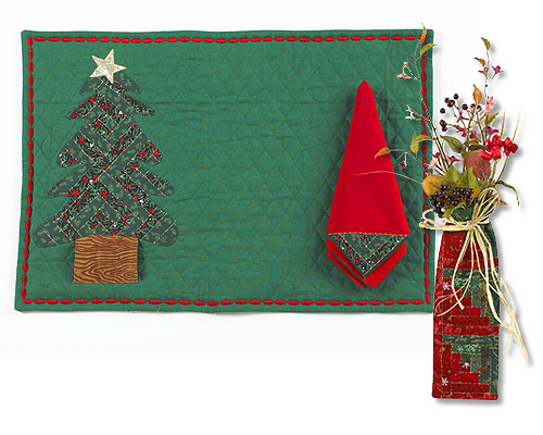 Applique Christmas Placemat and Napkin