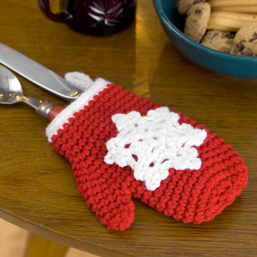 Snowflake Mitten Holiday Ornament Crochet Pattern from Red Heart ...