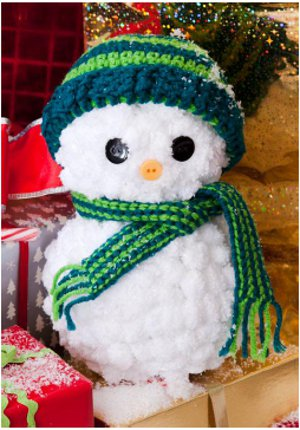 Easy Yarn Snowman with Crocheted Hat and Scarf