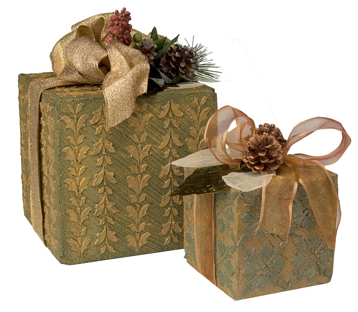 textured holiday gift boxes - Decorative Christmas Boxes