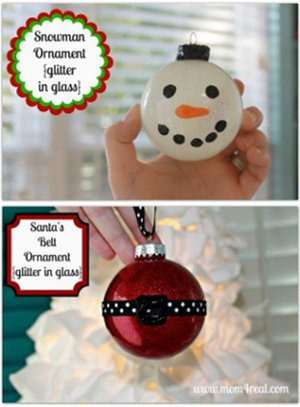 Glittered Snowman and Santa Ornaments