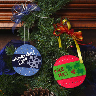 kids christmas crafts ornaments felt cheer ornaments - Kids Christmas Ornaments