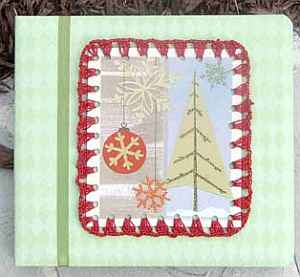Recycled Christmas Card with Crochet