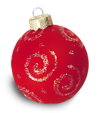 Red Christmas Ornament with Gold Swirls