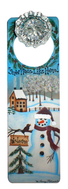 Christmas Snowman Painted Door Hanger