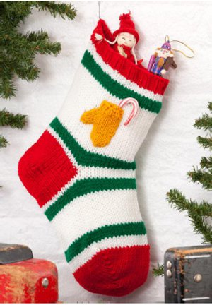 Traditional Holiday Stocking with Tiny Mitten Pocket