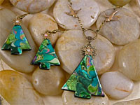 Christmas Tree Pendant and Earrings