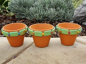 Leaf Stamped Clay Pots