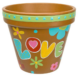 Painted hippy clay pot for Pot painting materials required