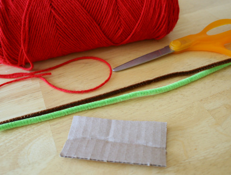 Supplies for Apple Yarn Craft