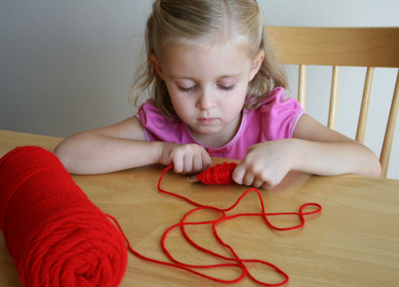 Winding Yarn Apple Craft