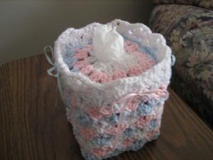 Baby Shells and Ribbon Tissue Box Cover