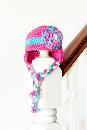 Blue Raspberry Crocheted Hat