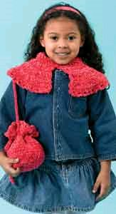 Children's Crochet Capelet and Purse