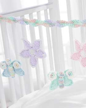 Crochet Butterfly and Flower Mobile