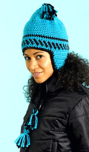 Bold Earflap Hat Crochet Pattern from Caron Yarn | FaveCrafts.com