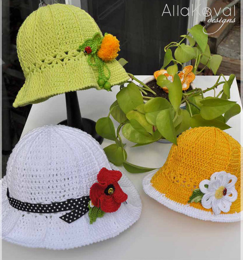 Garden Party Hat Crochet Pattern by Alla Koval FaveCraftscom