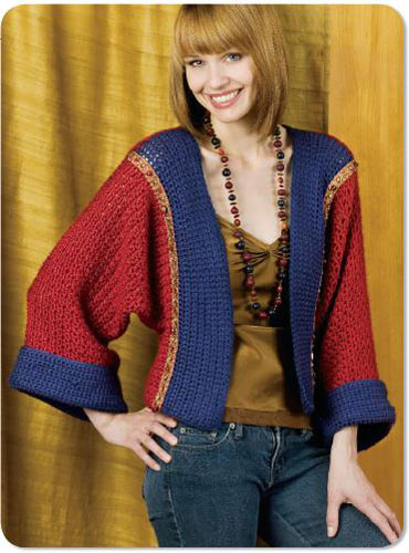 Embellished Kimono Jacket Crochet Pattern From Caron Yarn Gorgeous Crochet Kimono Pattern