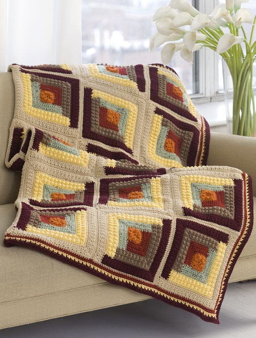 Log Cabin Afghan Crochet Pattern From Red Heart Yarn FaveCrafts Amazing Red Heart Free Crochet Patterns