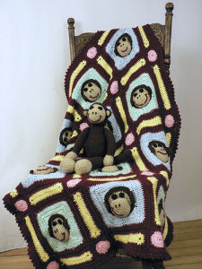 Crocheted Monkey Blanket