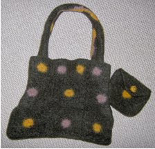 Felted Polka Dot Crochet Purse
