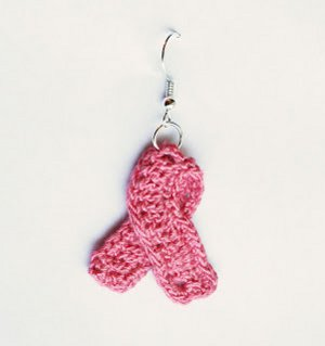 Crocheted Breast Cancer Awareness Ribbon Earrings