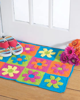 Crochet A Funky Flower Rug With This Free Pattern From Bernat Yarns. This  Easy To Make Rug Will Add A Burst Of Bright Color And A Fun, Youthful Touch  To Any ...