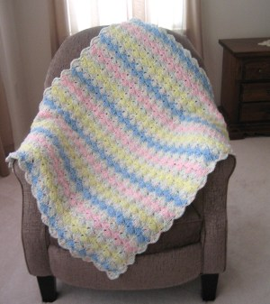 Wink of Pink Crocheted Afghan