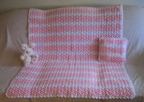 Pretty Pink Crochet Afghan and Pillow Set