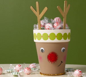 Cute and Crafty Reindeer Clay Pot