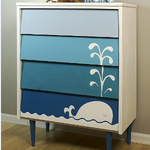 Blue Ombre Whale Dresser