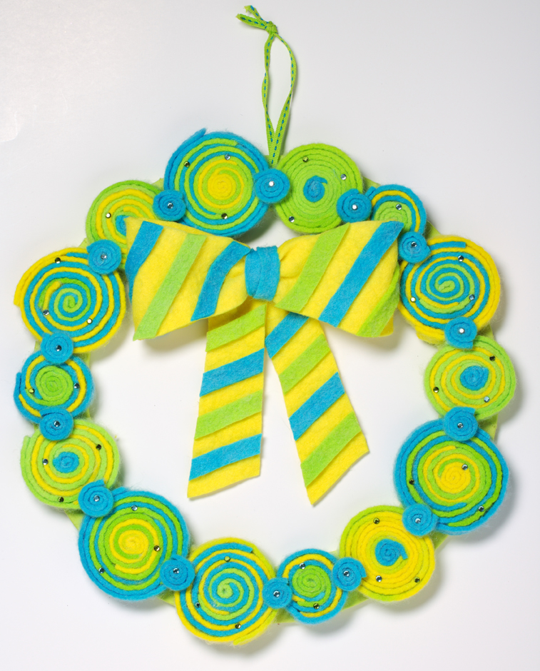 Dyed Felt Spring Wreath