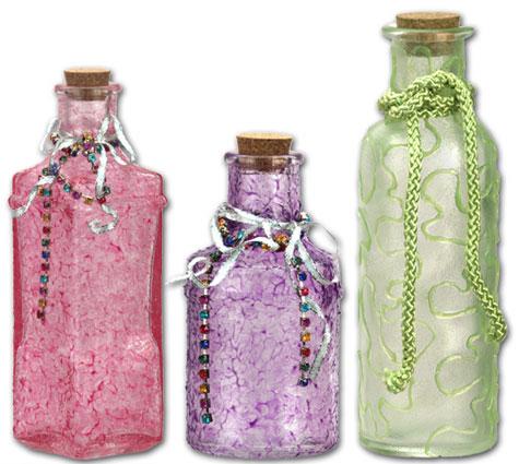 decorated glass bottles. Jewel Glass Bottles  FaveCrafts com