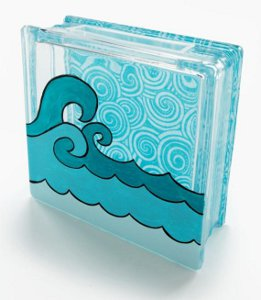 Catch a Wave Glass Block