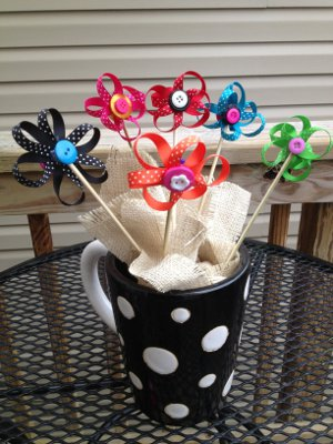 Ribbon and Button Flowers