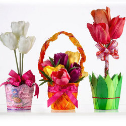 Decoupage spring flower pots for Flower pot made by waste material