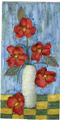 3-D Canvas with Silk Flowers
