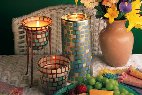 Pearly Garden Candle Mosaic Holder