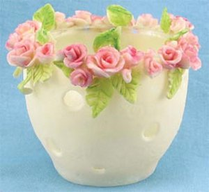 porcelain bouquet of roses votive holder