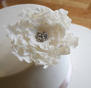 Elegant Ruffled Rose Wedding Cake Design