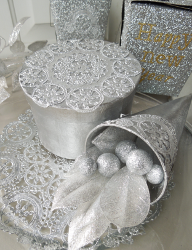 Silver Doily Table Centerpiece