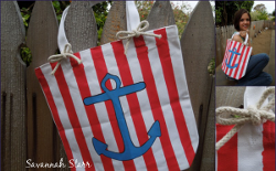 Stenciled Anchor Tote Bag