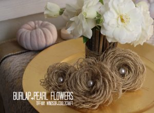 Chic Burlap and Pearl Flowers