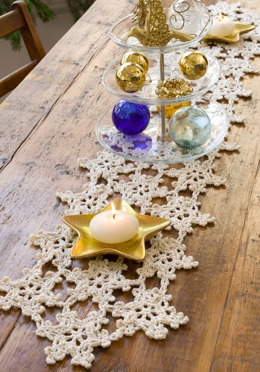 Crocheted Snowflake Table Runner Favecrafts